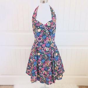 Roberta Vintage Halter Floral Fit and Flare Dress